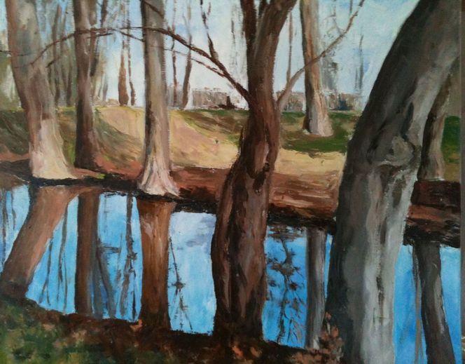Licht, Wald, Wasser, Baum, Malerei, Abstrakt