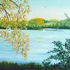 Landschaftsmalerei, Sonne, See, Acrylmalerei