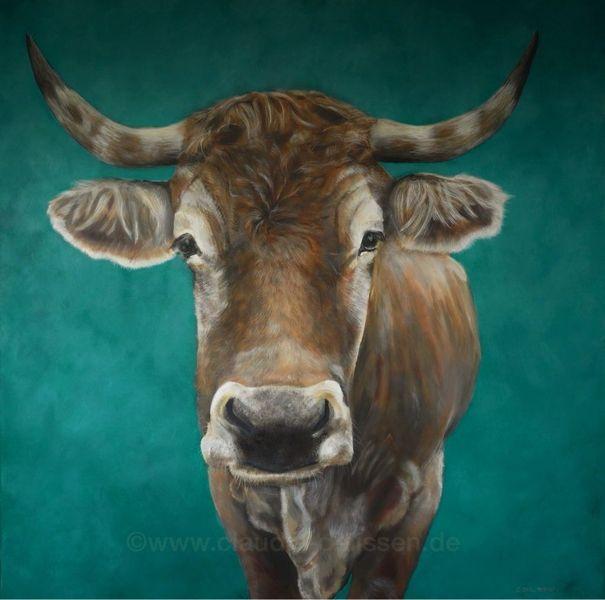 Murnau werdenfelser, Ochse, Rind, El jefe, Acrylmalerei, Kuh