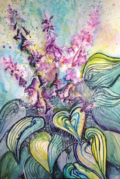 Funkie, Mijello, Aquarellmalerei, Hosta, Aquarell