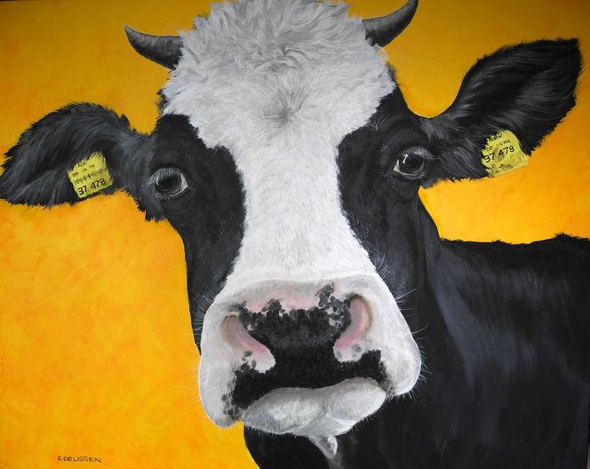 Tiere, Acrylmalerei, Kuh, Malerei
