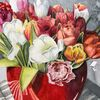 Aquarellmalerei, Tulpen, Blumen, Aquarell