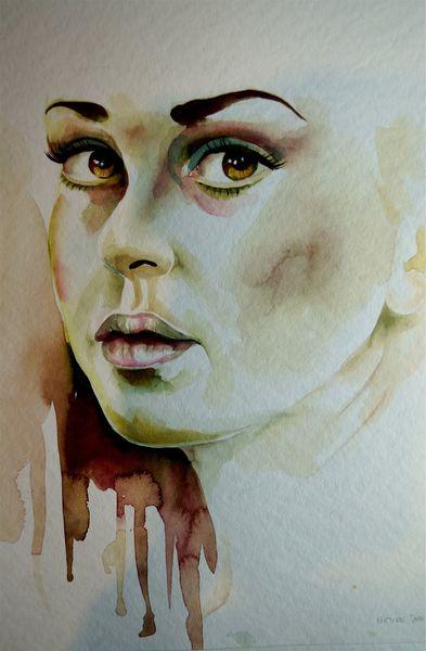 Portrait in aquarell, Aquarellmalerei, Portrait, Gesicht, Aquarell