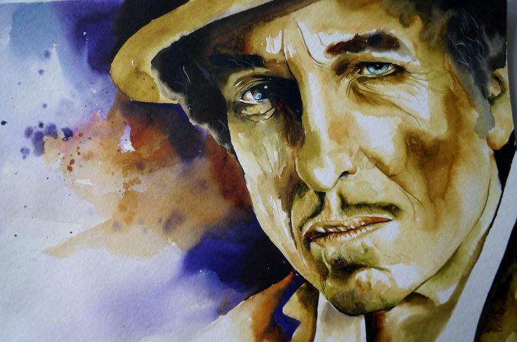 Bob dylan aquarell, Bod dylan watercolor, Bob dylan portarit, Aquarell