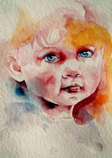 Aquarellmalerei, Portrait, Kinderportrait, Kind, Aquarell,