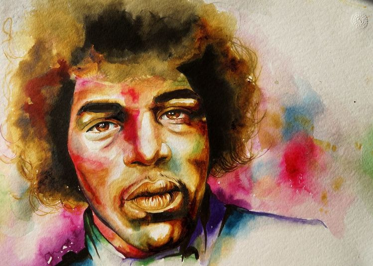 Jimmy hendrix portrait, Jimmy hendriks watercolor, Aquarell, Portrait, Hendrix