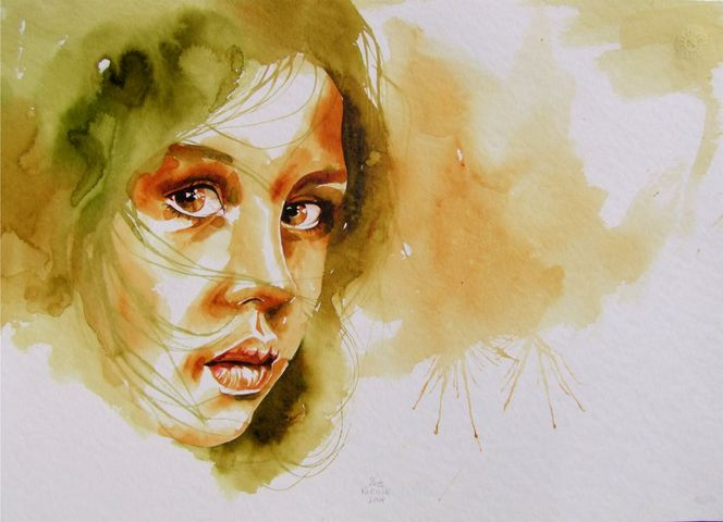 Portrait, Mädchen, Aquarellmalerei, Aquarell,