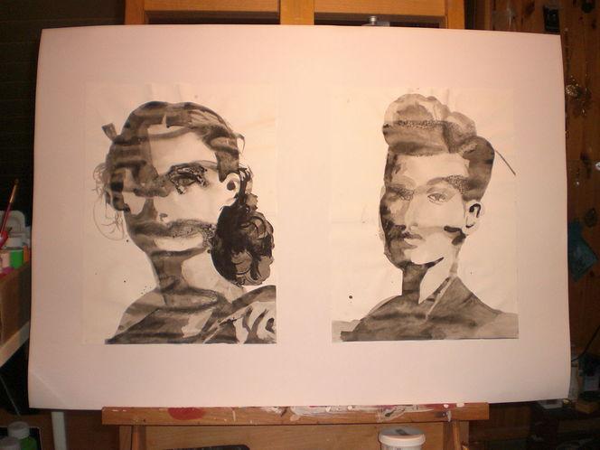 Zeichnungen, Tusche, Portrait
