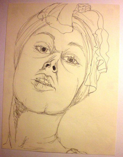 Zeichnungen, Selbstportrait, Kopftuch