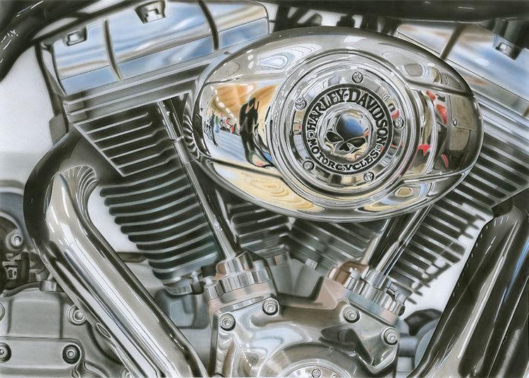 Motorrad, Harley, Malerei