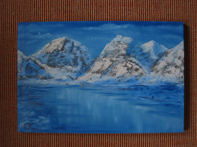 See, Berge, Winter, Pinsel, Ölmalerei, Landschaft