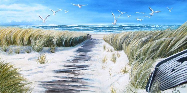 Landschaft, Sand, Strand, Ruhe, Weg, Schilf