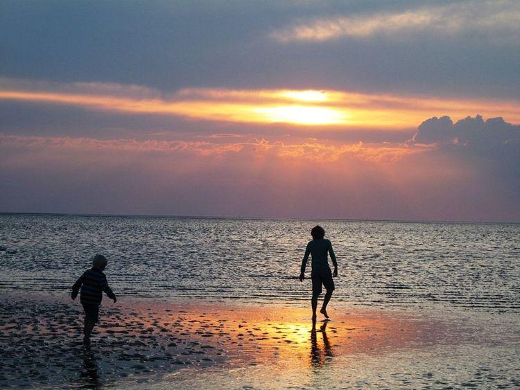 Kinder, Wolken, Gestaltung, Menschen, Sonnenuntergang, Meer