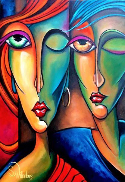 Gesicht, Abstrakt, Figur, Portrait, Paar, Augen