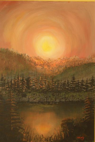 Landschaft, Berge, Sommerabend, Malerei,