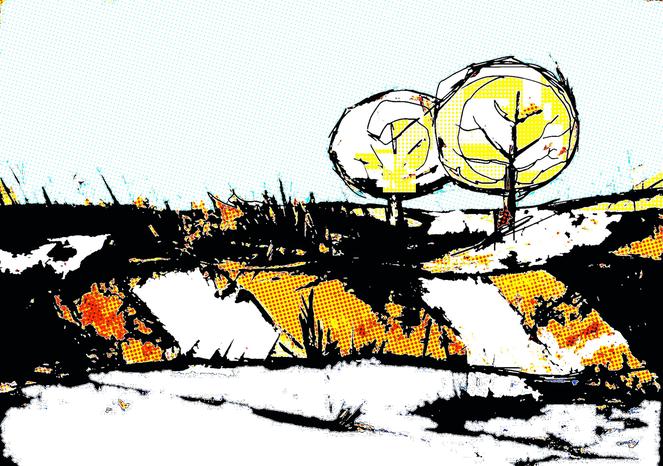 Unkat, Landschaft, Baum, Comic, Digitale kunst, Digital