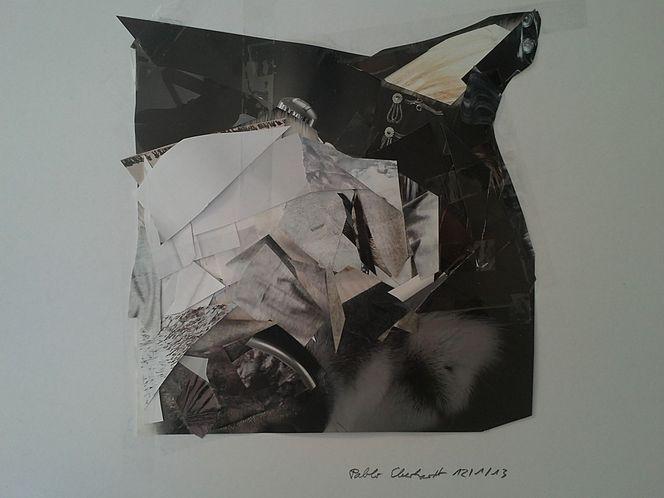 Collage, Malerei, Husky
