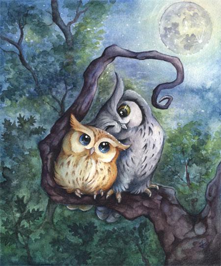 Liebe, Wald, Eule, Mond, Baum, Vogel