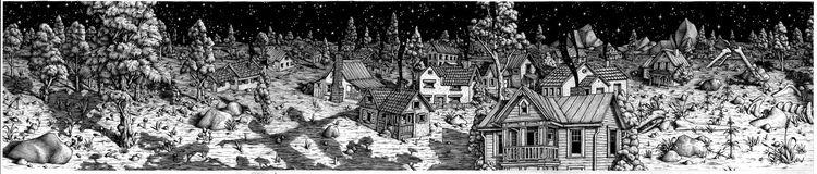 Buch, Haus, Nacht, Zeichnung, Zeichnungen