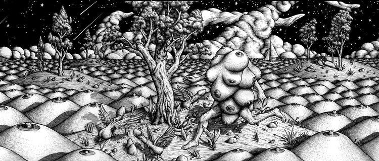Buch, Tusche, Nacht, Landschaft, Zeichnung, Zeichnungen
