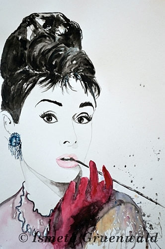Schönheit, Frauen port, Audrey hepburn portrait, Aquarell bilder kaufen, Schauspieler, Kunst kaufen