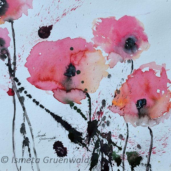 Roter mohn, Moderne kunst, Abstrakte blumen bilder, Blumenkunst, Mohn in aqarelle, Mohnblumen