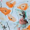 Orginal gemälde, Blumen mit aqarell, Abstrakte bilder, Oranger mohn