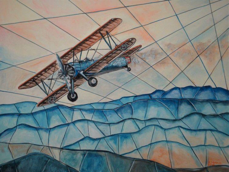 Himmel, Berge, Flugzeug, Malerei, Wolken