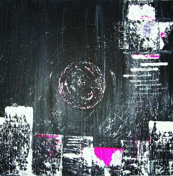 Landschaft, Acrylmalerei, Mischtechnik, Collage, Stadt, Schwarz neon
