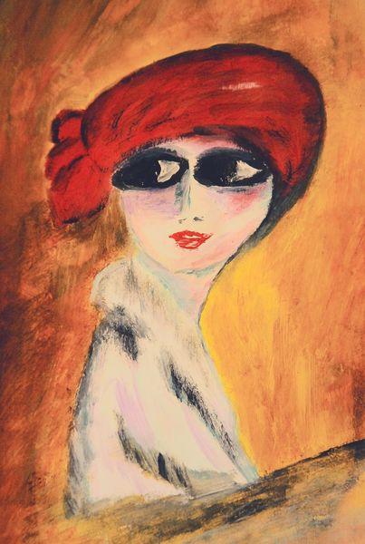 Frau, Hut, Rot, Gelb, Augen, Malerei