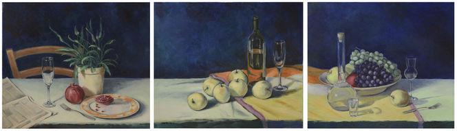 Malerei, Stillleben, Triptychon, Tisch