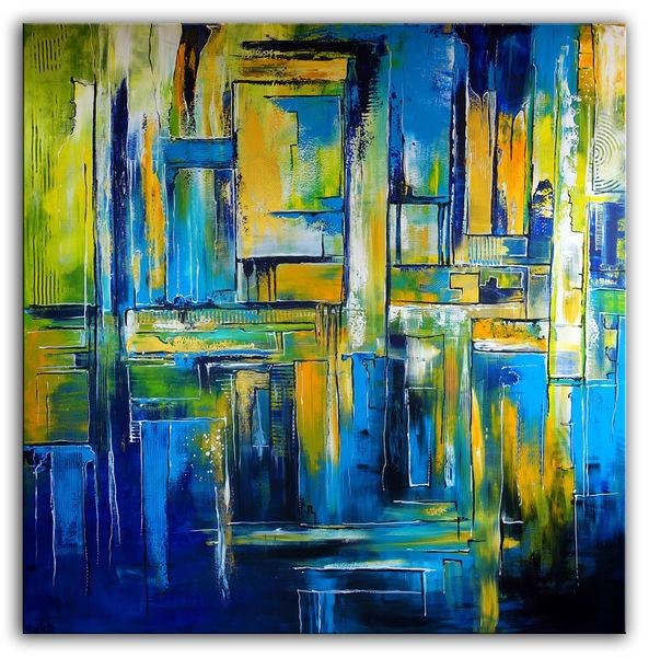 Unternehmen, Praxis, Abstrakte malerei, Malen, Blau grün, Gelb