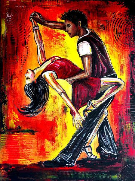 Malerei, Gemälde original, Malen, Mann frau, Tänzer gemälde, Acrylmalerei