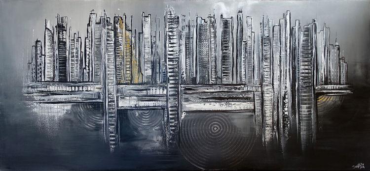 Skyline, Abstrakte malerei, Malen, Grau, Acrylmalerei, Schwarz