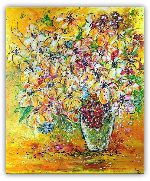 Blumen, Malen, Gemälde, Acrylmalerei, Blumenstrauß, Lilien