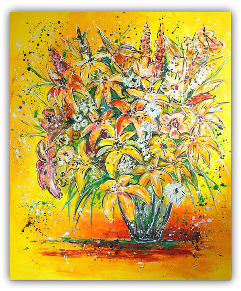 Blumen, Blumenstrauß, Gelb, Lilien, Rot, Malen