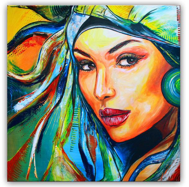 Schatten, Grün, Portrait, Malen, Kunst bild, Blau