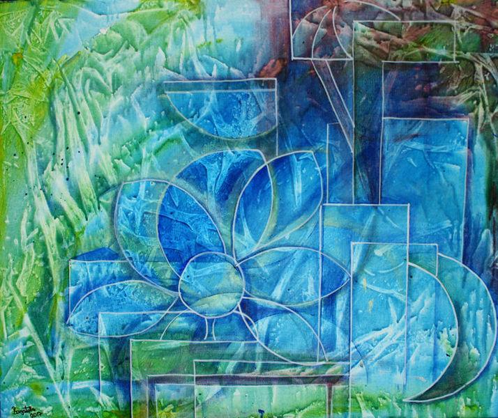 Malerei, Blumen, Abstrakt, Blau, Türkis,