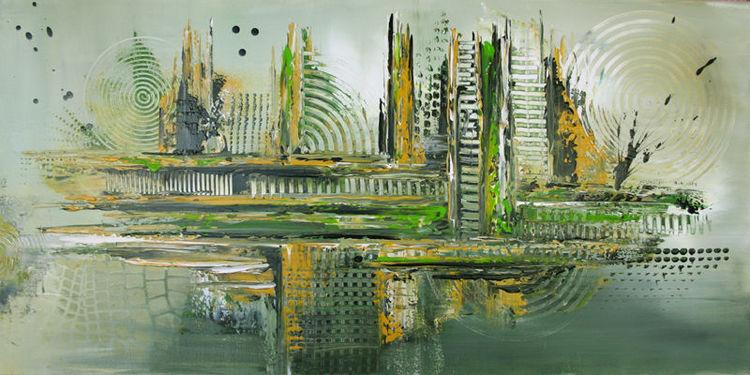Abstrakt, Kunstbilder, Wandbilder, Grün, Entwurzelung, Malerei