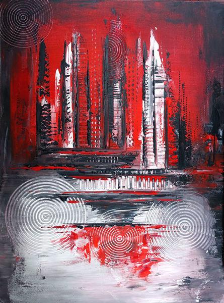 Dekoration, Eruption, Abstrakt, Wohnzimmer, Grau, Rot