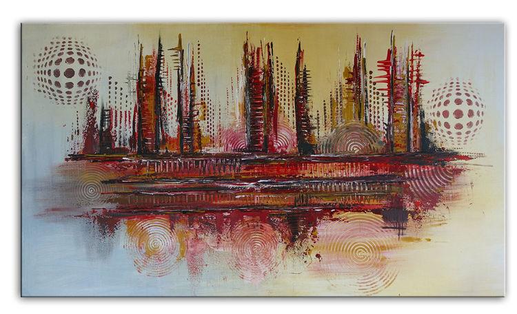Abstrakt, Gelb, Acrylmalerei, 70x120, Gemälde, Feuer