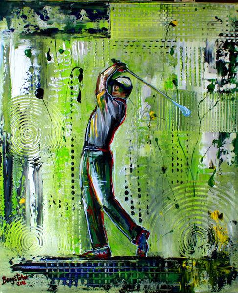 Gemälde, Golfturnier, Golfspiel, Golf, Malerei,