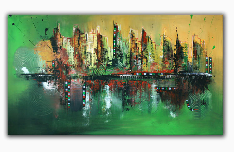 green skyline abstrakt abstrakte kunst acrylmalerei skyline von alex b bei kunstnet. Black Bedroom Furniture Sets. Home Design Ideas