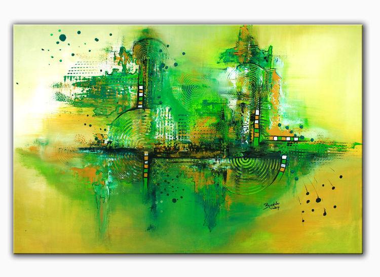 Greenworld, Grün, Wandbild, Malerei, Abstrakte kunst, Wandbilder