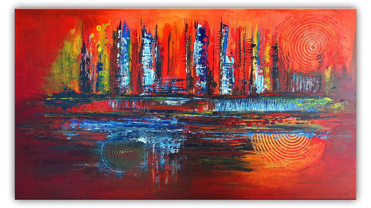Feuer, 80x140 abstraktes Acrylbild in rot gelb orange gemalt ...