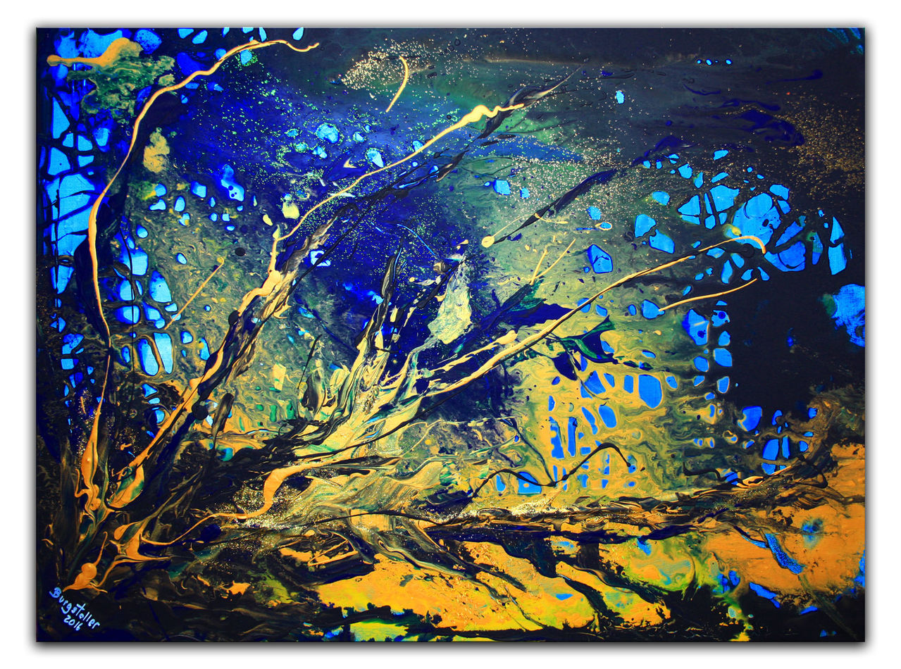 Korallen Abstrakte Malerei Wandbild Abstrakt Blau Gelb Quer