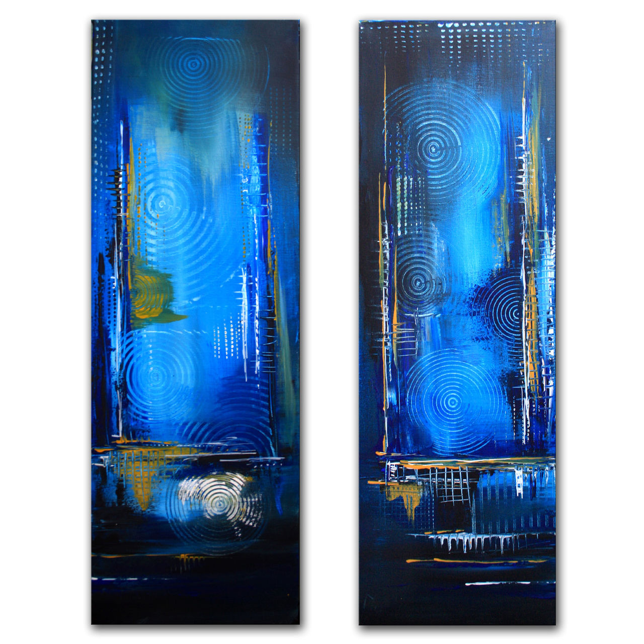 Bild: Moorlandschaft, Zweiteilig, Acrylmalerei, Blau von ...