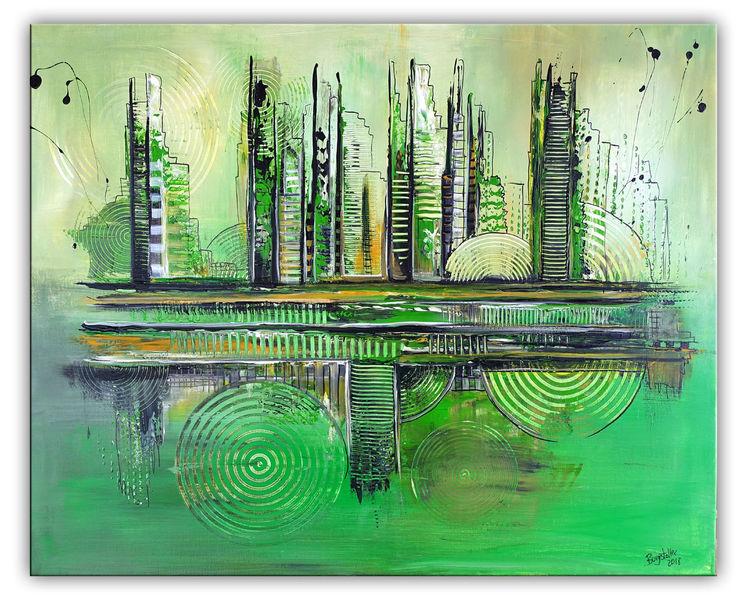 Abstrakt, Wohnzimmer, Grün, Gemälde, Stadt, Acrylmalerei