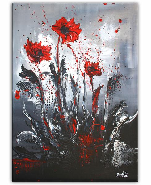 Wandbilder, Moderne malerei, Rot schwarz, Abstrakte kunst, Blumen, Malerei