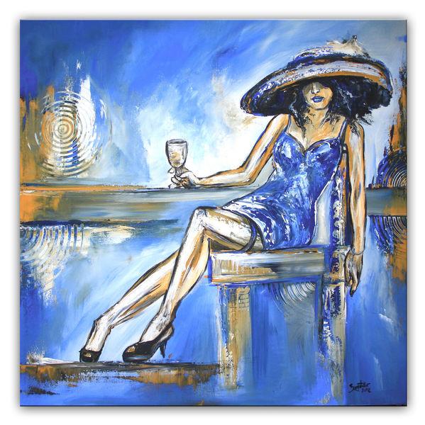 Weiß, Kleid, Gemälde, Moderne kunst, Ocker, Blau
